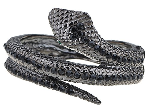 Alilang Frauen Gunmetal Farbton Schwarz Strass Antik Schlangen Verpackung Armreif