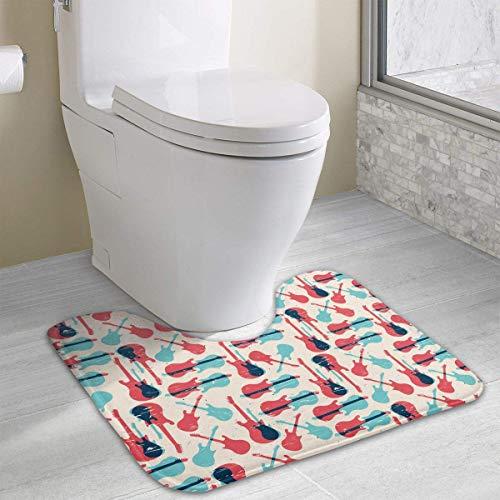 Hoklcvd Akustikgitarre Muster U-förmige Toilette Boden Teppich Rutschfeste Toilette Teppiche Duschmatte