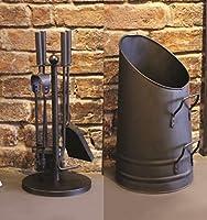 Garden Mile® Vintage Style Fireside Companion Set Fireplace Coal Fire Wood Burner Accessories And Tall Coal Hod Bucket Wood Log Holder Coal Scuttle Kindling Bucket Metal