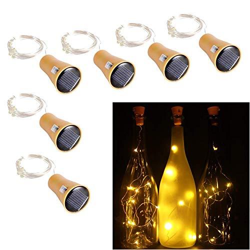 Solar Flaschenlicht 6er Set 10LEDs 1M LED Stimmungslicht Deko Lichterketten Wein String Cork Form...