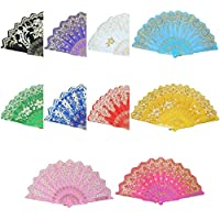 Garciakia Spain Style Compact Summer Plastic Folding Hand Held Fan Chinese Dance Party Pocket Gifts Wedding Floral Printed Fan(Color:randomly delivered)