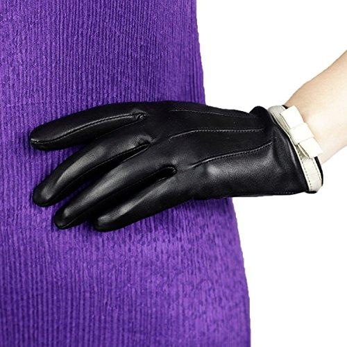 DIDIDD Handschuhe Frauen Mode Nette Bogen Kurze Winter (Bögen Finger Haar)