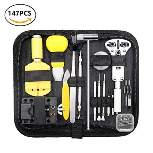 Qimh, kit professionale di 147 utensili per la riparazione di orologi, per...