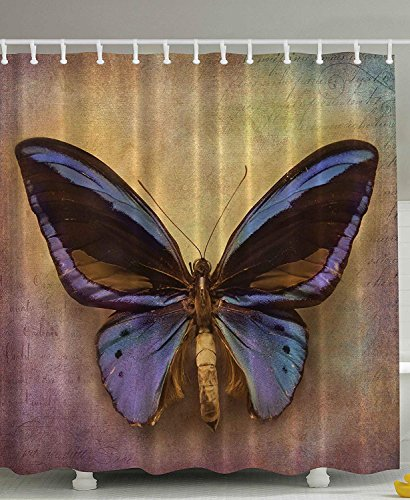Curtain by, Monarch Butterfly Vintage British Grunge Victorian Photography Art Printed Theme Bath Decoration Home Accent Print Polyester Fabric Purple Brown Mustard ()