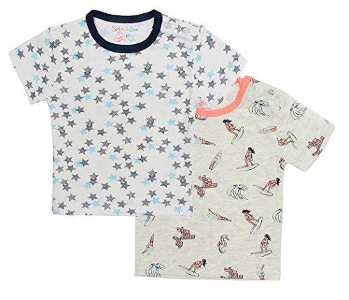Sofie & sam organic cotone combo set di 2 t-shirt maglietta da bimba per età 12-18 mesi