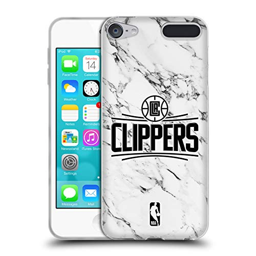 Head Case Designs Offizielle NBA Marmor Weiss 2018/19 Los Angeles Clippers Soft Gel Hülle für Apple iPod Touch 6G 6th Gen