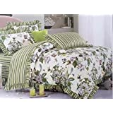 Mayfair Bedsheet Queen Size (5 Piece Combo Set Of Double Queen Size Bedsheets With 2 Frill Pillow Covers And 2 Frill Cushion Covers)