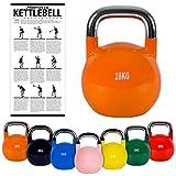 Kettlebell Competition 4-32 kg inkl. Übungsposter | Professional Studio Qualität | Wettkampf Kugelhantel (28 kg - Rot)