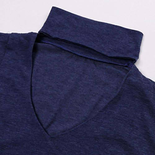 Longra Chemisiers Femme Fille Uni Manches longues Irrégulier Tee shirt Femme Original T-shirt Femme Basique Top Printemps Femme Pull Automne Hiver Haut Femme Mi saison Classique Élégant Bleu