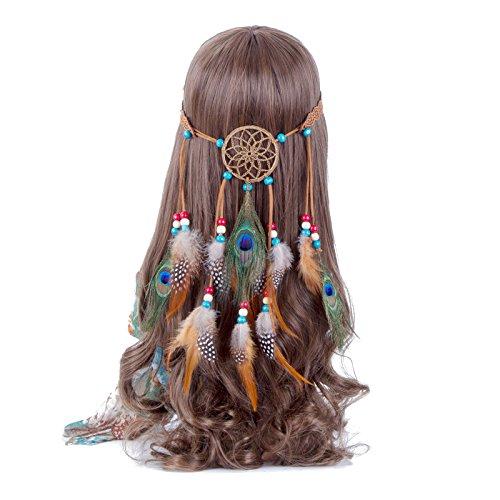 Feder Stirnband Traum Fänger Hohl - Hippie Boho Pfau Fasan Gefieder Perlen Einstellbar Kopfschmuck (Cremeweiß)