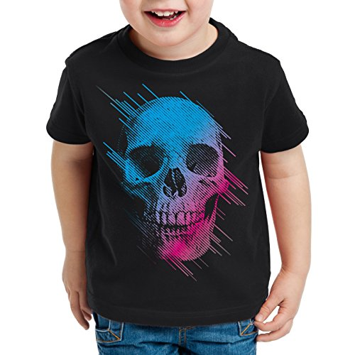 style3 Neon Skull T-Shirt Kinder totenkopf disco neon festival, Farbe:Schwarz;Größe:164 (Punk-baby-t-shirts)