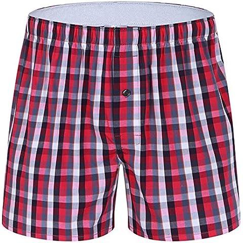 hibote Boxer para hombre Pantalones cortos de algodón para tejidos de la ropa interior de la tela escocesa de los troncos de los boxeadores para el hogar