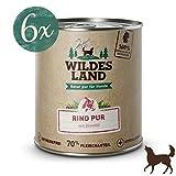 Wildes Land | Nassfutter für Hunde | Rind PUR | 6 x 800 g | mit Distelöl | Getreidefrei & Hypoallergen | Extra hoher Fleischanteil von 70% Akzeptanz und Verträglichkeit