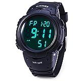 Männer 's Digital Sport Armbanduhr LED-Bildschirm groß, Militär Uhren und wasserdicht Casual Luminous Stoppuhr Alarm einfach Armee Armbanduhr–Schwarz