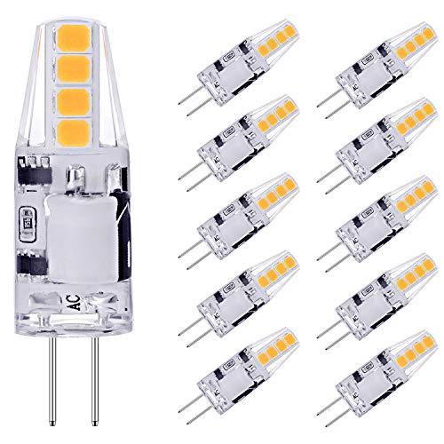 AGOTD G4 LED Lampen, 2W LED Birnen Ersetzt 20W Halogenlampen, 3000K Warmweiß 160lm 12V AC/DC LED Leuchtmittel, 360 Grad G4 LED Birne, Nicht Dimmbar Stiftsockellampe Glühbirnen, 10er Pack