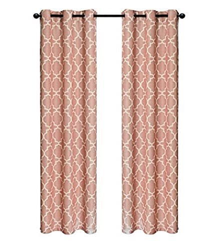 Indecor Home Design Grommet Top Faux Slub Window Panel, Lattice, Tan