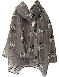 French Bulldog Scarf Grey White Brown French Bulldogs Ladies Gray Frenchie Dogs Scarf Dogs Wrap Shawl Sarong