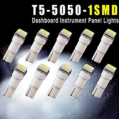 10pcs t5 coche 5050 1SMD cuña xenón blanco bombillas led 74 17 18 37 70 2721 ( Light Source Color : Blanco )