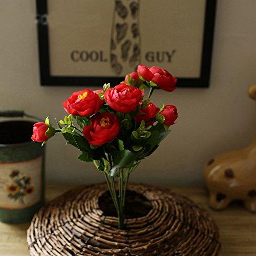 GSYLOL 1 BouquetBlume Frühling Kamelie Pfingstrose RoseSeidenblumeHochzeit Blumengesteck Heim Dekorative 6 Farben, Rot