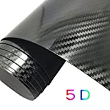 "GOGOLO Glossy Self Adhesive 5D Waterproof Car Vinyl Wrap Carbon Fiber Line Bubble Free Vehicle Sticker Film Wrapping Decals Exterior & Interior DIY Decoration 59.8"" x 19.7"" for Phone/Car/PC/Motorcycle/Bicycle/Guitar (Black)"