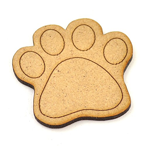 10 x MDF de madera huellas de perro, tamaño pequeño, madera lisa,...