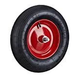 Relaxdays Schubkarrenreifen 4.80 4.00-8, Ersatzrad luftbereift inkl Achse, Luftreifen 200 kg Tragkraft, Schwarz-Rot