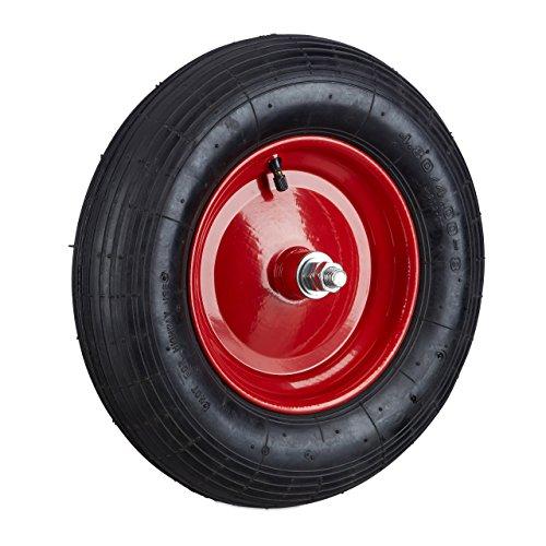 Relaxdays Ersatzrad luftbereift inkl Achse, Luftreifen 200 kg Tragkraft, schwarz-rot Schubkarrenreifen 4.80 4.00-8, -