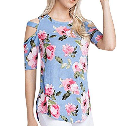 Yvelands Damen Gedruckt Kreuz Mode Tops V-Ausschnitt Bluse Lose Kurzarm T-Shirt Sommer (T-shirt Mädchen Realität)