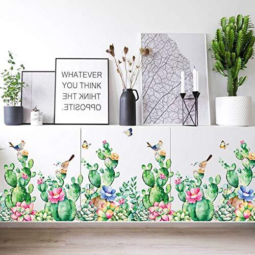 YUSDK Kleine frische Garten Wandaufkleber Schlafzimmer Kleiderschrank Fensterbank Wohnzimmer Veranda Baseboard TV Hintergrund Wanddekoration, abnehmbare Wandaufkleber, Selbstklebende Kakteen