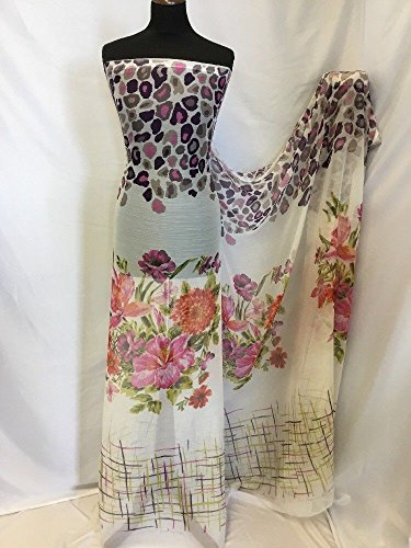 Iana Fabrics Neu Crinkle Chiffon Multi Print Stoff Kleid Schal Floral Leopard 157,5cm -