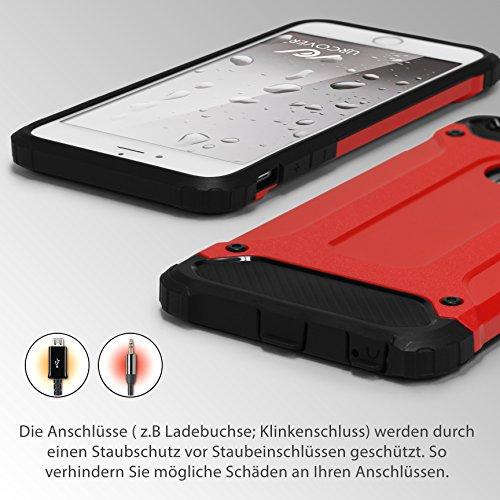 URCOVER® Coque Armor Protection Steel Series Hybrid | Apple iPhone 6 Plus / 6s Plus | Noir | Housse Bumper Double Anti choc Étui Cover Integrale Case Compléte Arrière Rouge