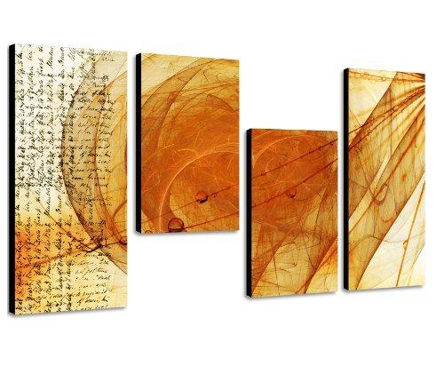 Wandbild orange gelb - 130x70cm 4 teiliges Keilrahmenbild (50x70+30x50+30x50+30x70cm) abstraktes...