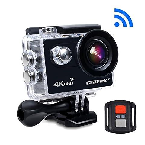 Caméra Sport Campark ACT73R 4K Caméra d'Action Étanche 30M WiFi Action Cam Grand-angle 170° Kit d'accessoires 2 Batterie Incluses + Sac Portable