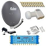 FUBA 12 TEILNEHMER DIGITAL SAT ANLAGE DAA780A + Opticum LNB 0,1dB FULL HDTV 4K + PMSE Multischalter 5/12 + 35 Vergoldete F-Stecker Gratis dazu