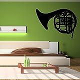 azutura Corno francese Adesivo da parete Musica per strumenti Adesivo Banda della scuola Home decor disponibile in 5 dimensioni e 25 colori Extra-Small Royal Blu