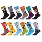 WeciBor Calcetines Hasta La Pantorrilla Para Hombre Estampados Hombres Ocasionales Calcetines Divertidos Impresos de Algodón de Pintura Famosa de Arte Calcetines de Colores de moda