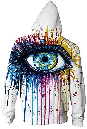 Bettydom Femme Imprimé Pull à Capuche Sweat-shirt à Manches Longues avec Pochette et Zippé Unisexe Multicolore Halloween Vêtement de Sport 2-Oeil