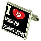Select Gifts Argento 925 gemelli & Bond denaro Clip - io amo Wirehaired Grifone di puntamento