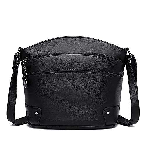 RJW Damentaschen Polyester/PU (Polyurethan) Umhängetasche Verstellbarer Schultergurt Tragetaschen/Reißverschluss Einfarbig Schwarz/Rot/Grau Elegant (Farbe : Black) (Kipling Karriere)
