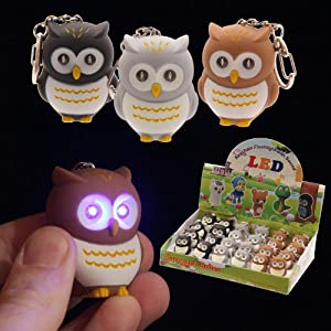 Cute LED light up Hooting Owl Keyring Key chain torch
