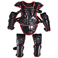 Kids Motorcycle Bike Protective Armor Suit for Dirt Bike Chest Spine Protector Back Shoulder Arm Elbow Knee Pad Body Armor Vest Red
