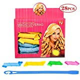 Haar Lockenwickler Werkzeug mit 28 Lockenwicklern und 1 Styling Haken Locken Curler ,35cm bis 70cm DIY Spiral Curls Stapelbar Wickler Styling Kit