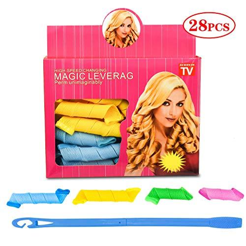 28 Pièces Rouleaux Bigoudis Magiques Sans Chaleur avce 1 Crochet Magique, Bigoudis en Manuel Spiral Fast Hair Curls Styling Kit(Taille: 15cm 23cm)