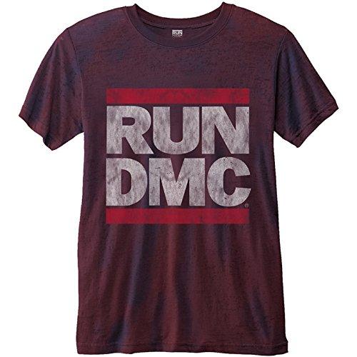 RUN DMC T Shirt Logo Vintage Nue offiziell Herren Rot 2-Tone Burnout Slim fit -