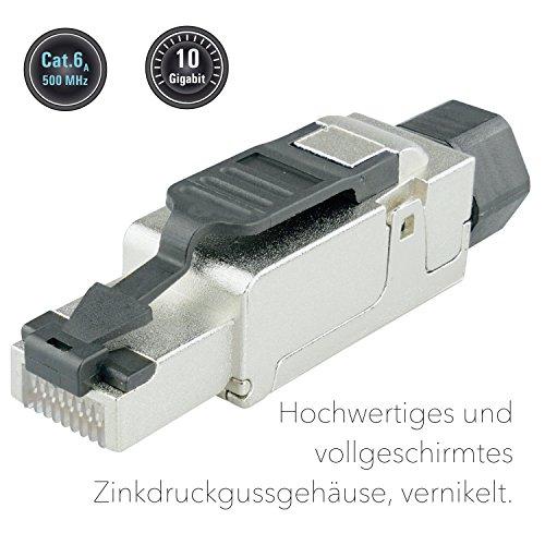 AIXONTEC RJ45-Stecker feldkonfektionierbar Cat.6A geschirmt, RJ45 Stecker cat7 Verlegekabe AWG 23, werkzeugfreie Montage, Deutsche Montageanleitung und Montagevideo