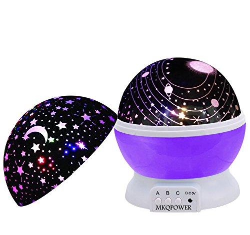 Nachtlicht Sternenhimmel, Sterne-Beleuchtungslampe 4 LED-Korne 360 Grad Romantik Zimmer Rotating Kosmos-Stern-Projektor für Weihnachten