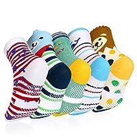Baby Socks, VBIGER 5 Pairs Anti-slip Boys Girls Toddler Socks Catoon Print Cotton with Grips Socks for Aged 3-5
