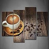 Braun Kaffee Mit Herz Muster Im Weiß Tasse Wandkunst Malerei Das Bild Druck Auf Leinwand Essen Kunstwerk Bilder Für Zuhause Büro Moderne Dekoration