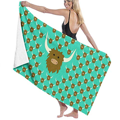 Beach Towels Decor Yak Repeat Bath Towels for Bathroom Hotel Spa Kitchen Soft, High Absorbent, Eco-Friendly Printed Bath Towel,Quick Dry 31.5\