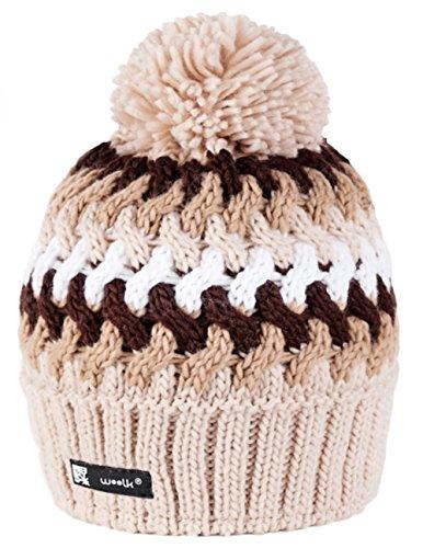 Unisexe Garçon Fille Bonnet d'hiver Gâteau Style Eskimo Nordic chaud doublure polaire Enfants Chapeau pom pom (Cookie 40)